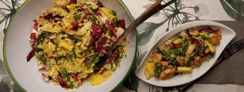 Curry-Reissalat mit Huhn, Fisolen und Ananas