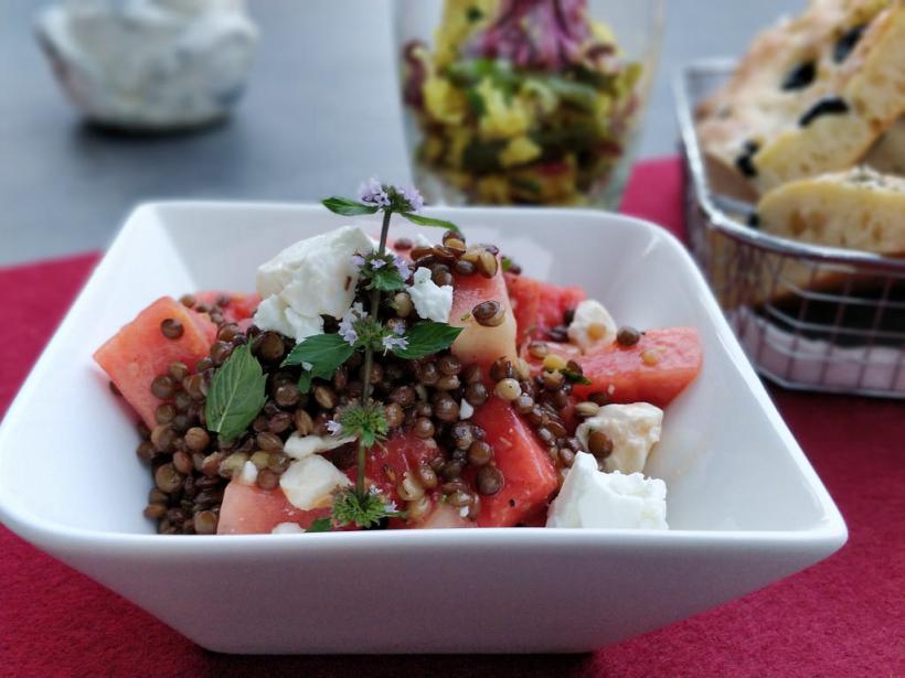 Melonen-Linsen-Salat mit Feta